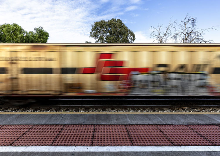 Trees Blurred Motion Motion Rail Transportation Railroad Track Red Speed Train Tree