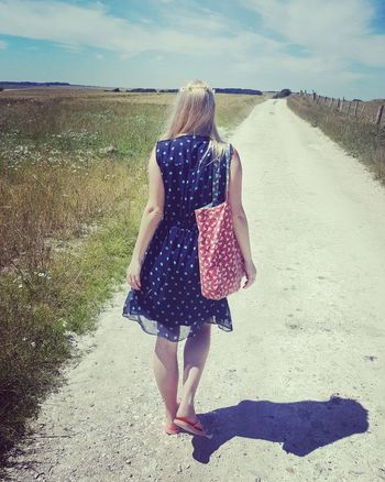 The spotty dress Shadow Sussex Downs Sussex Countryside Ditchling Beacon Daisychain Flowersinmyhair Flower Power Spotty Road To Nowhere Beacon Beauty In Nature Freshair Freedom Fitness Walking Countryside Blonde Girl Summer Peace Love Rear View Casual Clothing Full Length Leisure Activity Outdoors Young Women EyeEmNewHere