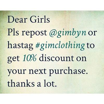 Các nàng ơi, Nàng nào đã ủng hộ và có hình ảnh với trang phục của GiM thì repost @gimbyn hoặc hastag Gimclothing để được giảm 10% vào lần mua sau nghen. Cảm ơn mọi người rất nhiều ạ ? Feedbacktime