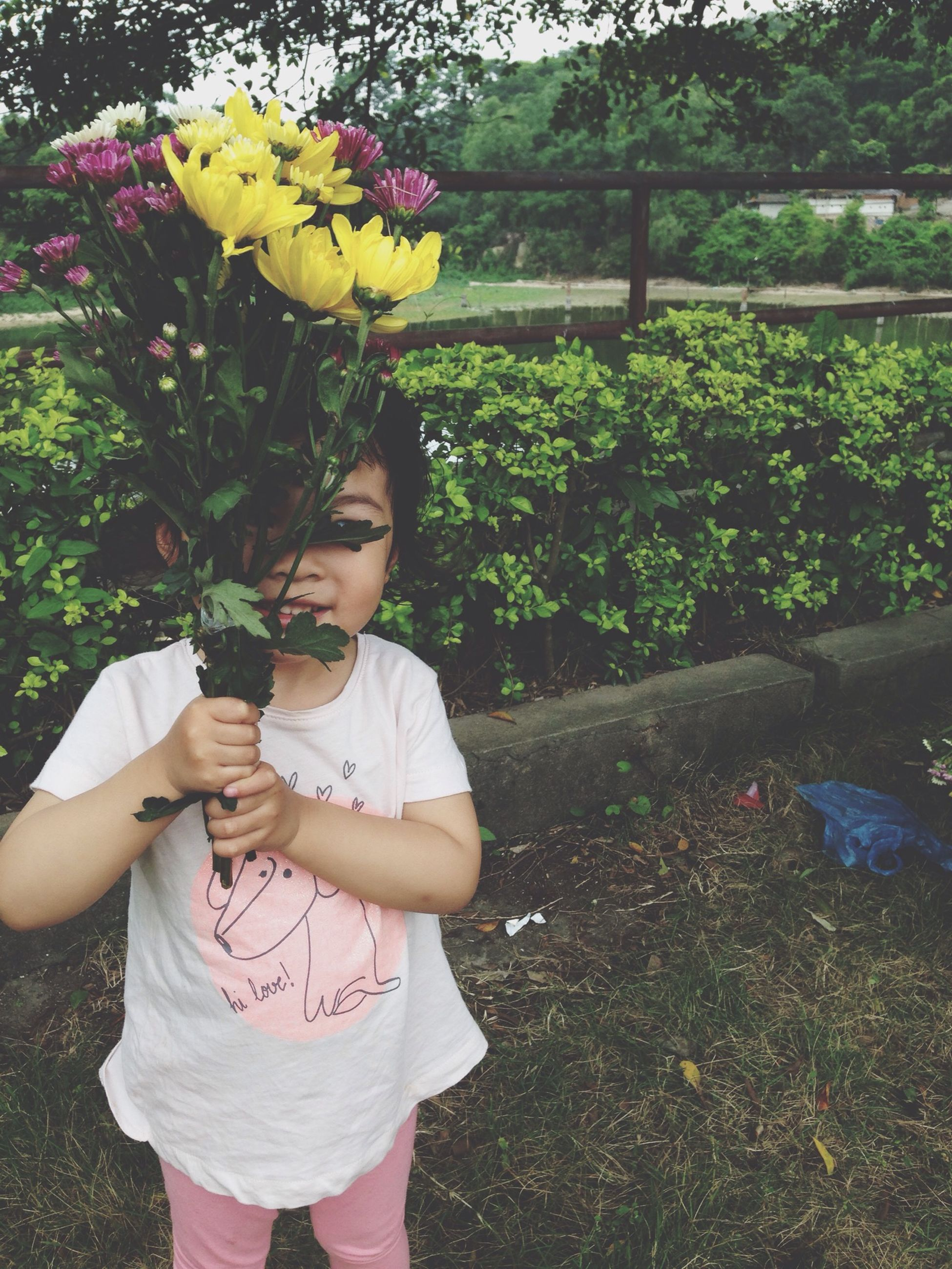 childhood, lifestyles, elementary age, girls, leisure activity, flower, holding, casual clothing, person, innocence, standing, boys, park - man made space, cute, freshness, three quarter length, playing, tree