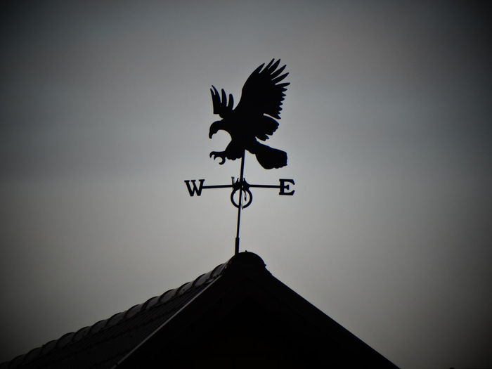Low Angle View Of Weather Vane On Roof Against Sky