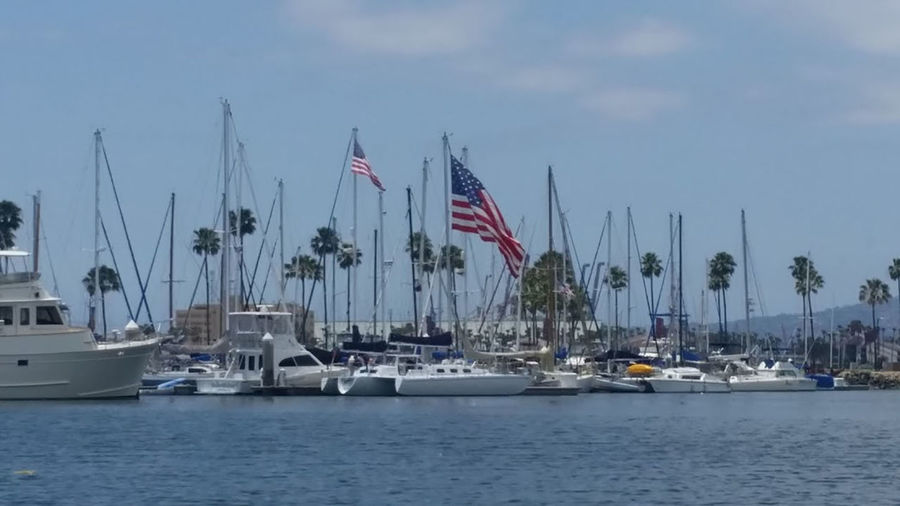 Large American Flag Long Beach California Marina Marina Bay Sands Patriotic Patriotic, Patriot, Flag, American Flag, Honor, Respect Flag Harbor Mast Moored Nature Outdoors Patriotism Shoreline Marin Sky Stars And Stripes Water