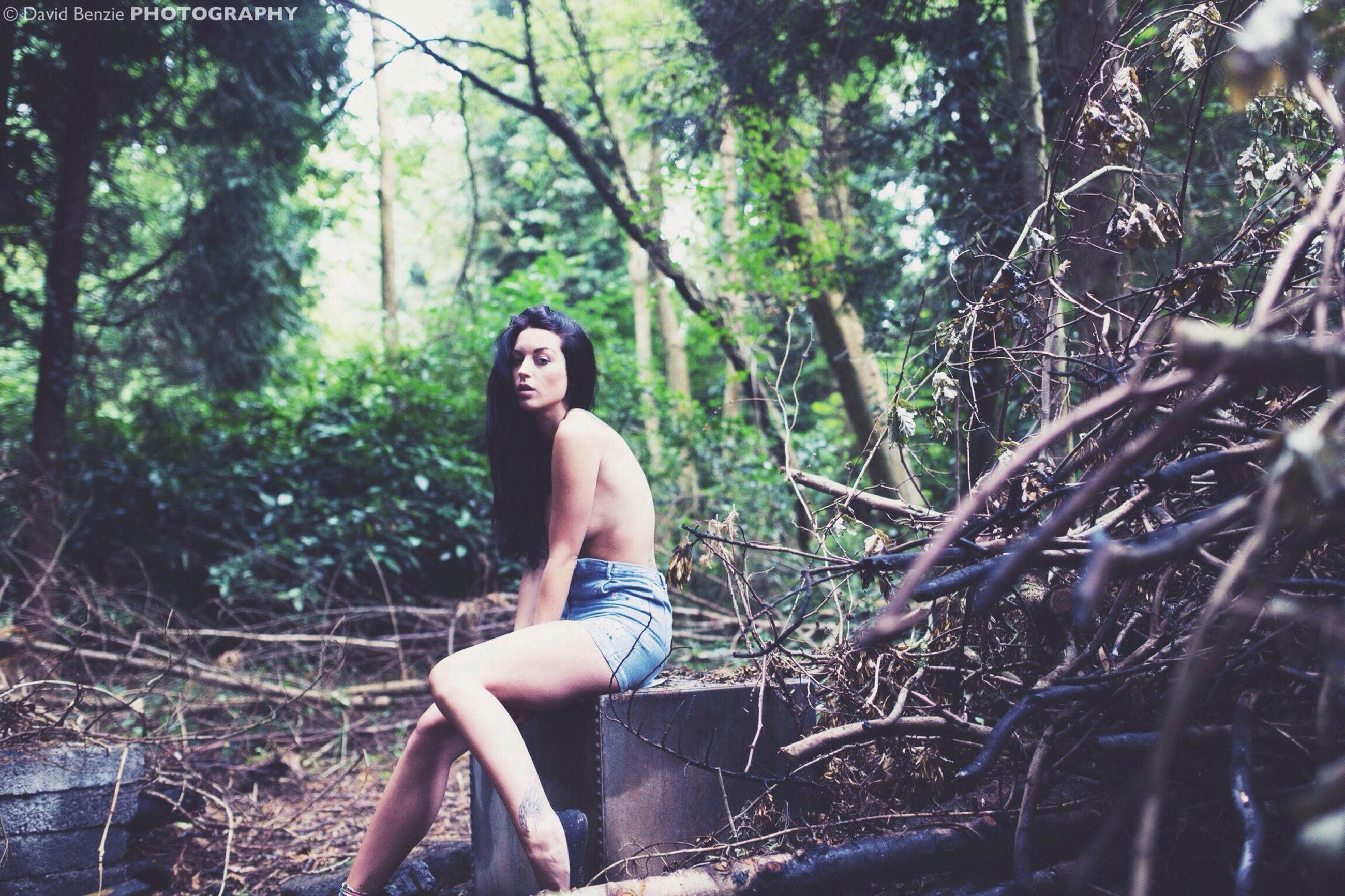 tree, young adult, lifestyles, person, leisure activity, forest, casual clothing, young women, looking at camera, portrait, full length, sitting, three quarter length, front view, tree trunk, day, outdoors, standing
