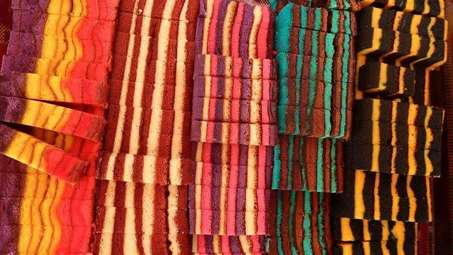 Beautifully Organized Multi Colored Textile Backgrounds Wool Full Frame Choice Variation Pattern Large Group Of Objects No People Close-up Arrangement Indoors  Cake Layercake Malaysian Food Business Finance And Industry Day Break The Mold