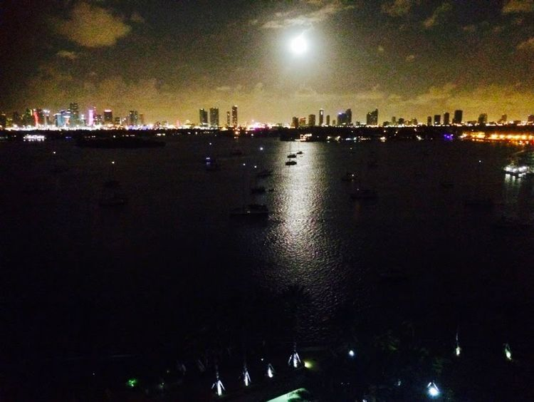 EyeEmNewHere Night Illuminated Reflection Moon Nightlife Skyline At Night Arts Culture And Entertainment Sky City Fullmoon Reflection Building Exterior Star - Space Outdoors Water People Architecture Adult Miami Beauty In Nature Nature Astronomy