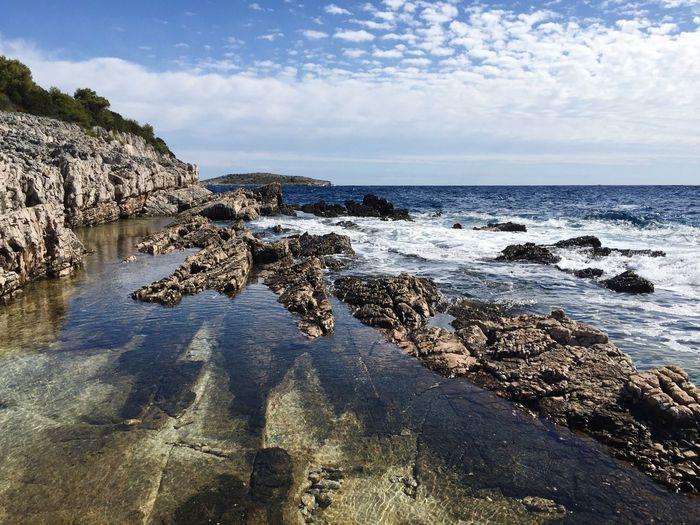 Croatia Adriatic Sea Dugi Otok Landscape Water Sky Sea Beach Land Horizon Over Water Scenics - Nature Beauty In Nature Cloud - Sky Tranquility Horizon Rock No People Sunlight