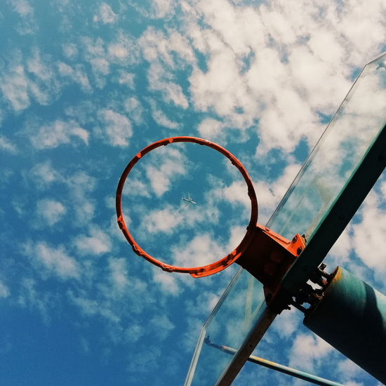 ✈️Cloud - Sky Sky Basketball - Sport Basketball Hoop Nature No People Sport Circle Geometric Shape Net - Sports Equipment Day Low Angle View Outdoors Blue Shape Damaged Close-up Auto Post Production Filter Sports Equipment Directly Below