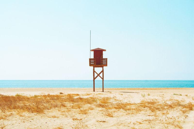 Lifeguard hut on an empty beach