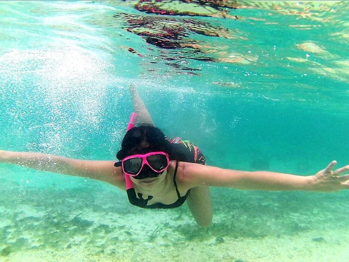 Happy Time Koh Lipe Sea Life Snorkeling Vacation Time Traveling Portrait Thailand