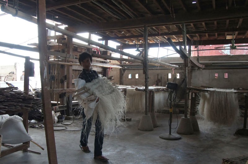 Burma Cooperation Developing Country, Factory Workers Hard Work Manual Labor Team Work Tick Noodle Factory,