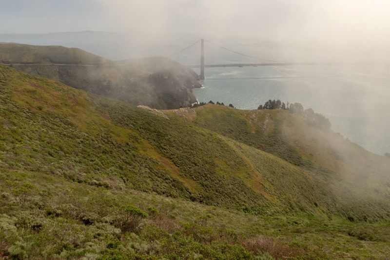High angle landscape of the rolling green hills in Marin Headlands and the Golden Gate Bridge in the distance California Coast Foggy Morning Green Color San Francisco Rolling Hills Marin Headlands Environment Land Nature Landscape Water No People Sky Fog Spraying Growth Beauty In Nature Outdoors