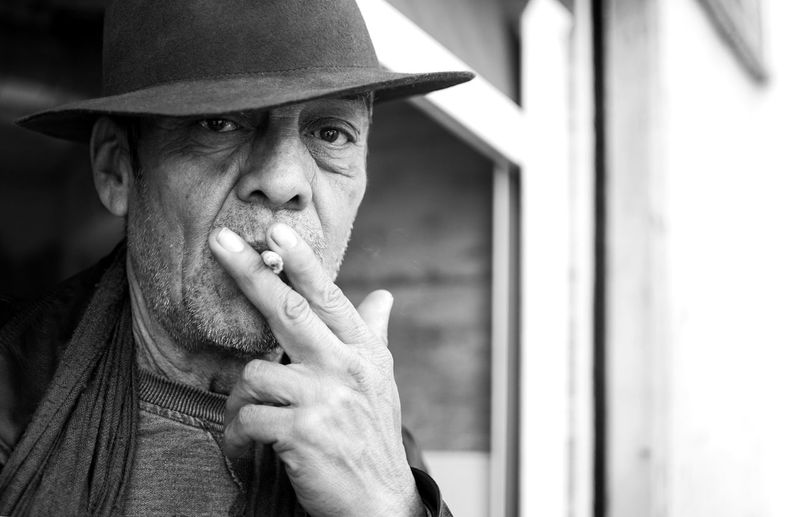 Close-Up Of A Man Smoking