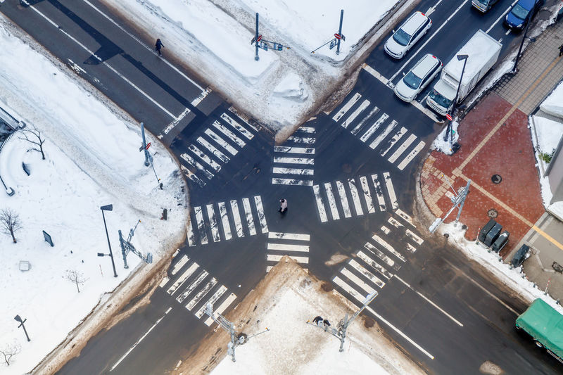 Cross the Road Architecture Building Exterior Built Structure City Cold Temperature Crossing Crossing The Road Crossing The Street Day High Angle View Japan People Sapporo Snow Winter Flying High