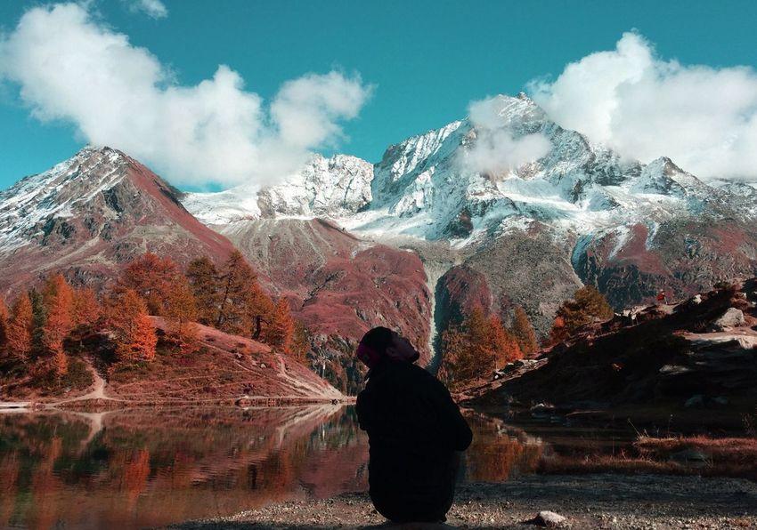 Beauty In Nature Scenics Sky Mountain Cloud - Sky Nature Lifestyles Landscape Switzerland Autumn Colors Editjunky Igersswitzerland Ig_captures Valais Ig_wallis Arolla Discover  Tranquility Bluelake Lacbleu POV