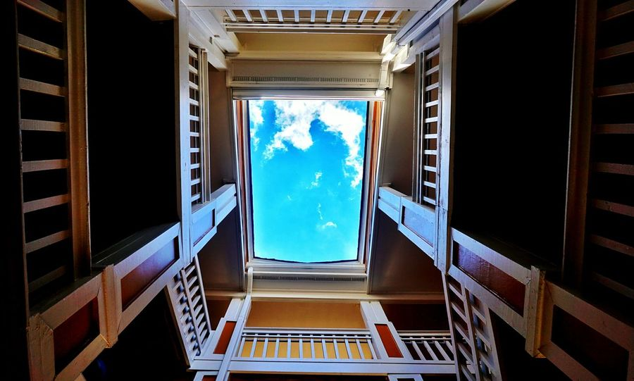 Keep your head up Window Lookup Sky Cloud - Sky No People Architecture Space Upward View Skylight CutOut Spiral Spiral Staircase Staircase Sky Cloud - Sky No People Architecture Space Looking Out Pattern Light Vs Dark Shadow Railings Charlotte, NC