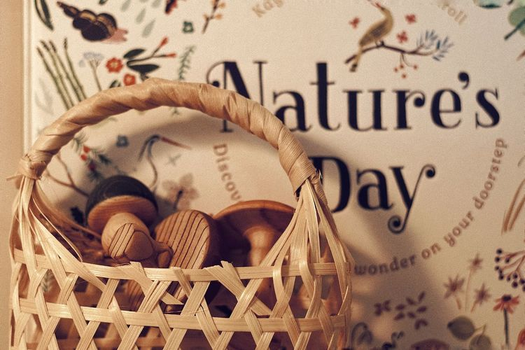 High angle view of text on wicker basket