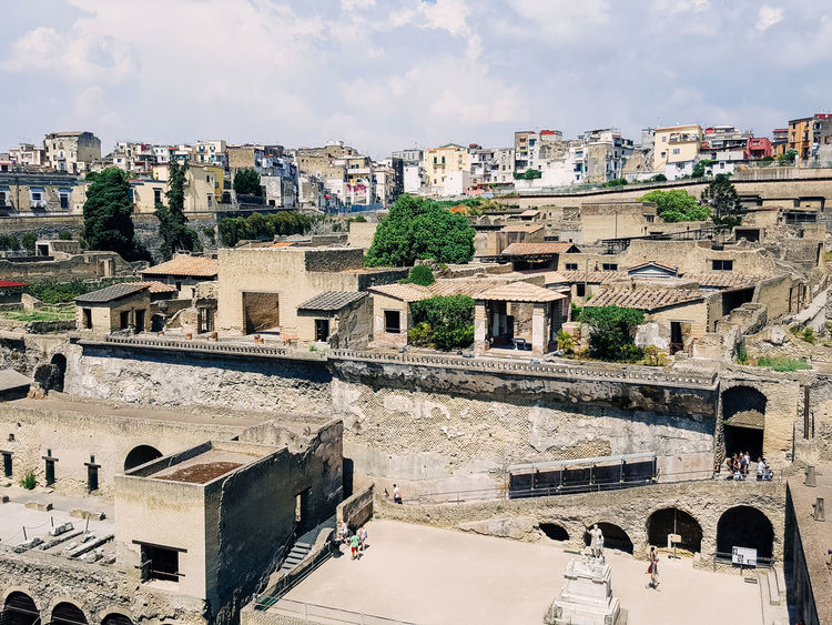Ancient Architecture Ancient Building Ancient City Ancient Civilization Ancient Ruins Architecture Building Building Exterior Built Structure City Cityscape Cloud Cloud - Sky Cloudy Day Ercolano Italy Holidays No People Outdoors Residential Structure Sky Town TOWNSCAPE