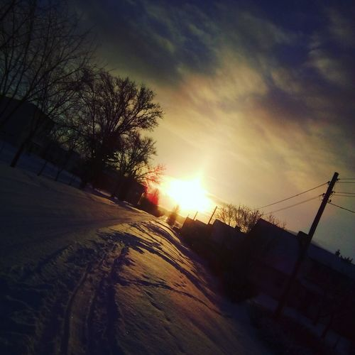 Snow ❄ Outdoors Sunset Sky And Clouds Awsome Day ♥ Awsome Best Picture  12MP ınstagram 💚💚💜