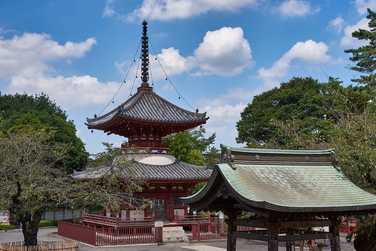 Panoramic view of pagoda against sky
