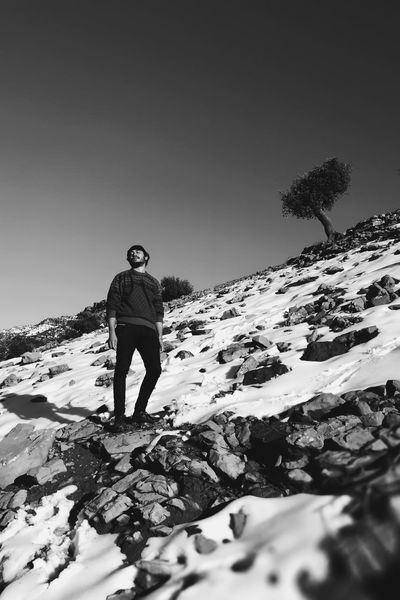 Blackandwhite Blackandwhite Photography Morocco Bnw Visualsoflife An Eye For Travel EyeEmNewHere Shades Of Winter One Man Only Snow Full Length Winter Adventure Mountain One Person Standing Cold Temperature Hiking Outdoors Landscape