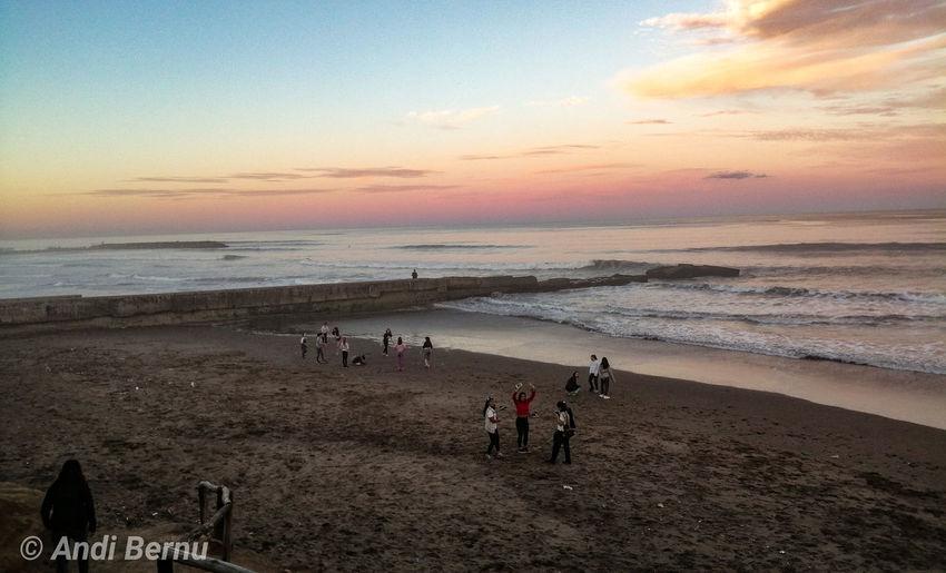 Mardel Atardecer Mar Oceano Mar Del Plata  Viaje Water Sea Sunset Beach Sand Wave Sky Horizon Over Water