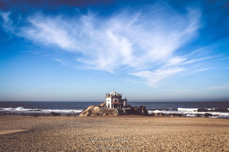 Senhor Da Pedra Church Sea Water Beach Land Horizon Over Water