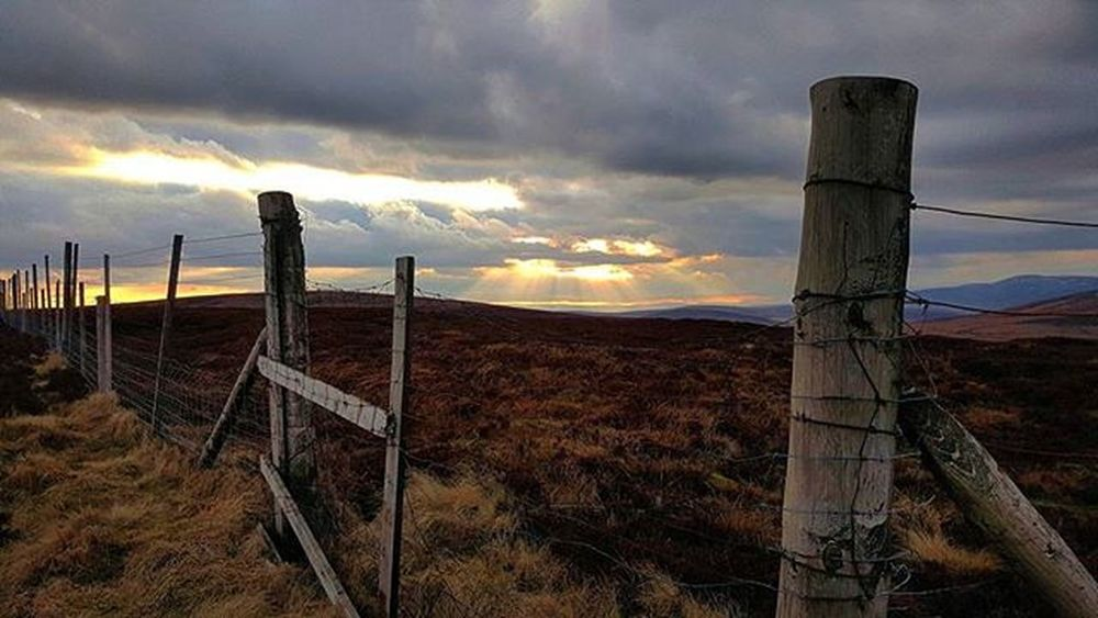Mountain Ray's - Beautiful light beams cutting through the clouds. ☺ Lightbeams Light Clouds Cloudporn Sunset Beautiful Fence Rustic Texture Mountain View Warm Landscape Aberdeenshire Scotland Britains_talent Visitaberdeenshire Photooftheday Brilliantmoments EyeEm Best Shots EyeEm Nature Lover Landscapes With WhiteWall