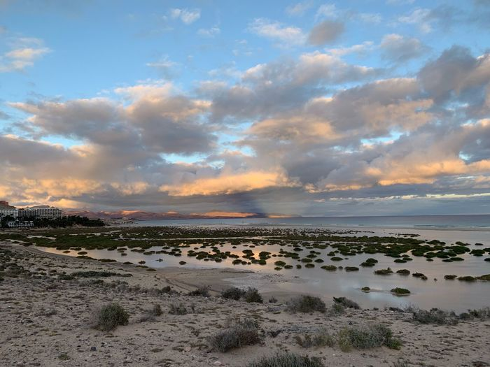 Fuerteventura Canary Islands Sky Cloud - Sky Scenics - Nature Land Beach Sea Beauty In Nature Water Tranquility Nature Tranquil Scene Sunset Horizon Over Water Sand No People Idyllic Non-urban Scene Environment Horizon Low Tide