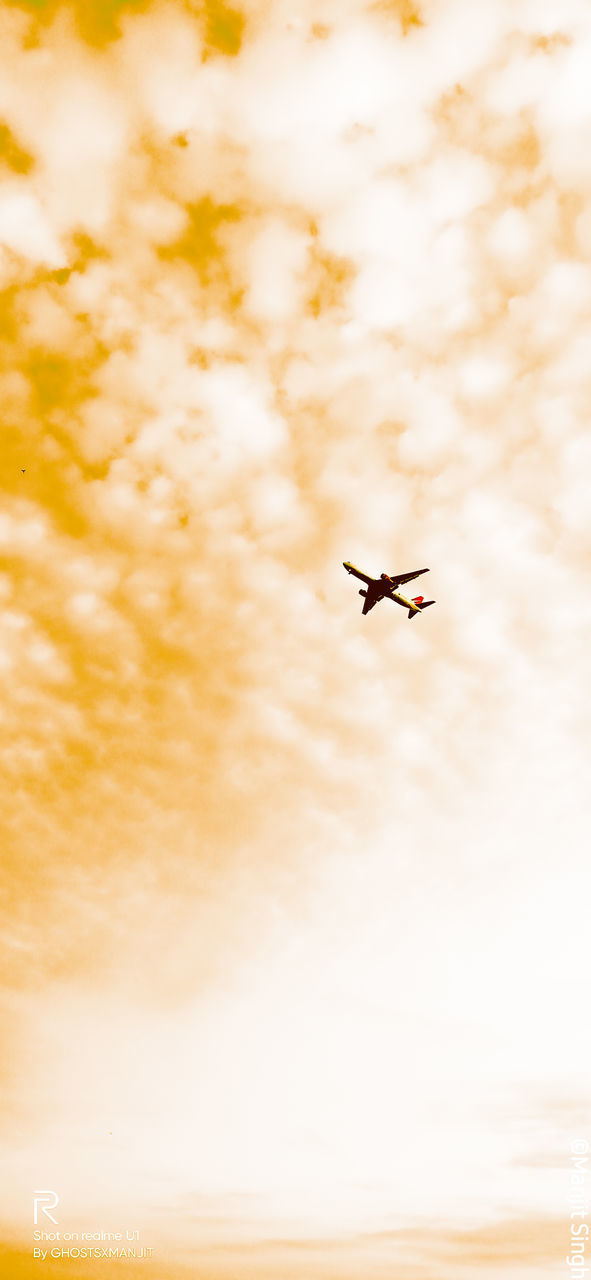 LOW ANGLE VIEW OF AIRPLANE IN SKY AT SUNSET