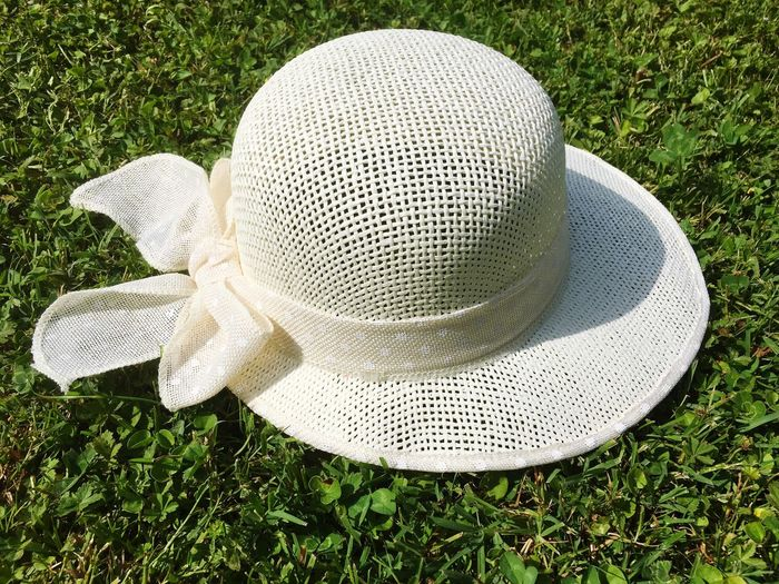 Cap Straw Hat Summer High Angle View Grass Plant Green Color No People Nature Close-up Outdoors Design Hat Still Life
