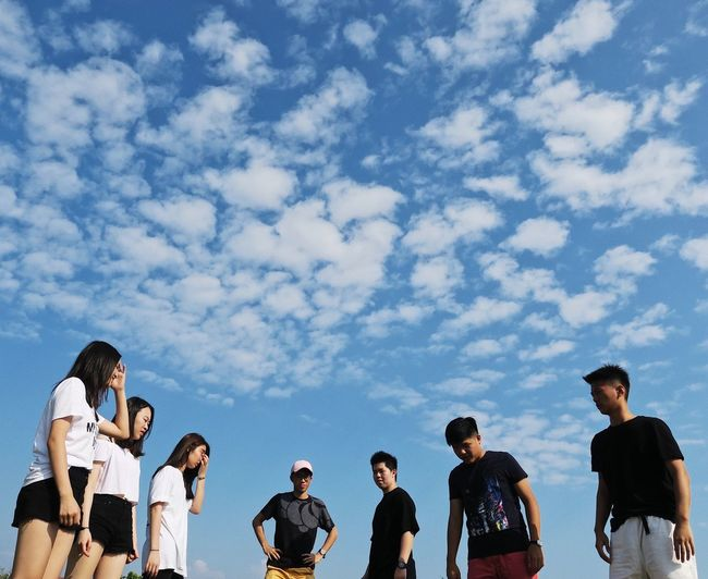 Cloud - Sky Group Of People Sky Men Nature Low Angle View Day People Young Men Outdoors Leisure Activity Togetherness Adult Blue Group Real People Teenager EyeEmNewHere