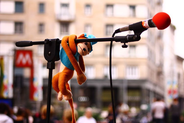 View Of Toy Hanging On Microphone