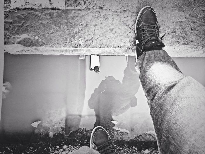 Blackandwhite Reflection Shadow Jump