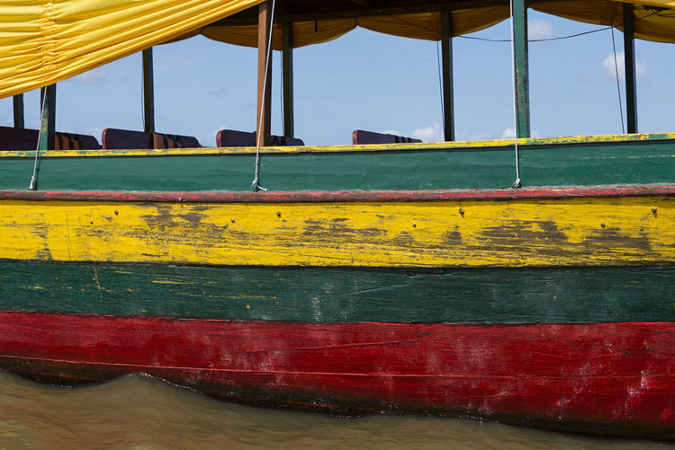 Colourful Boat Boat No People Day Yellow Water Nature Outdoors Transportation Nautical Vessel Mode Of Transportation Sky Red Close-up Green Color Green Color Colours Summer Tour Travel Holiday Holidays Colors Vacations EyeEm Best Shots 17.62°