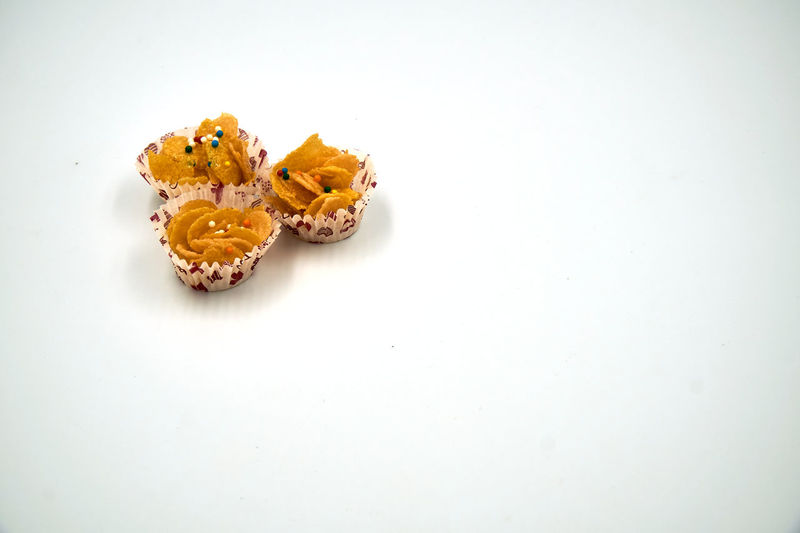 High angle view of food on white background