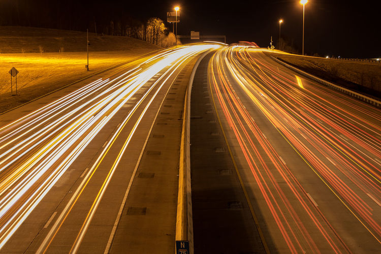 My real 1st shutter f-stop ISO night shot got it right this time ....shot. Hwy I75 Blurred Motion City High Angle View High Street Illuminated Light Trail Long Exposure Motion Night No People Outdoors Road Speed Street Light Tn Traffic Transportation