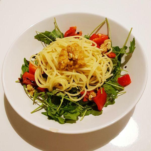 Pasta & Salat Pasta Salad Walnut Ricotta Arugola Balsamic Vinegar Pesto Dinner Food Plate Savory Food Bowl Freshness Spaghetti Ready-to-eat