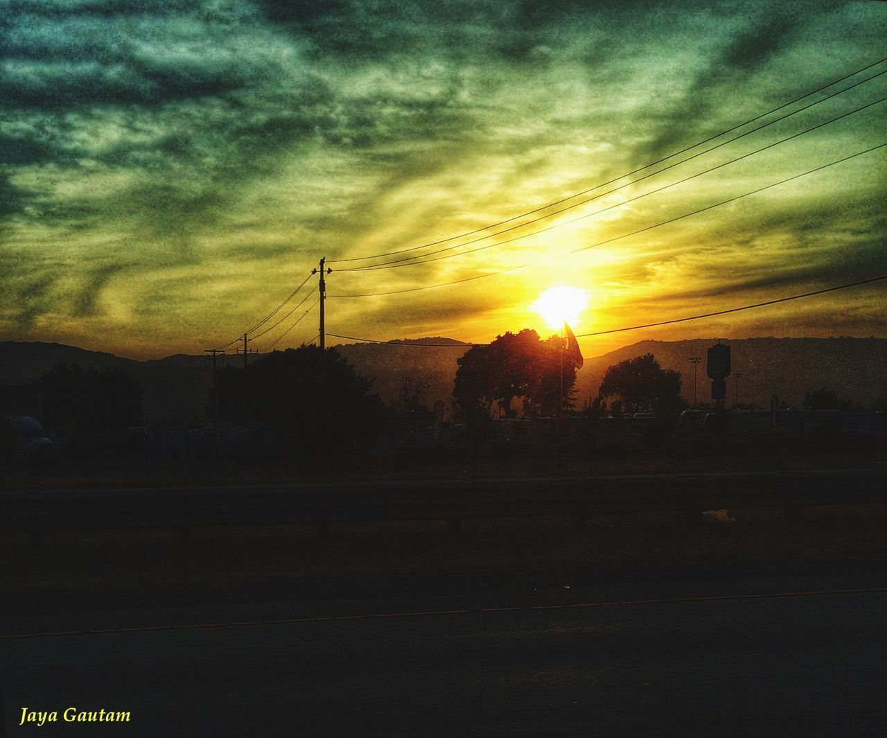 sunset, sky, silhouette, sun, cloud - sky, connection, cable, nature, beauty in nature, landscape, no people, electricity pylon, scenics, tree, outdoors, technology, day