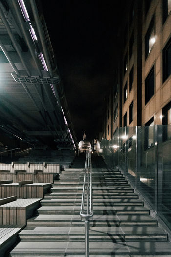 Empty footpath at night