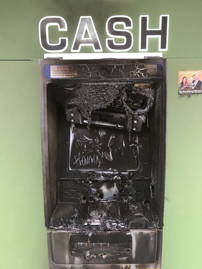 no more cash Atm Machines Atm Destroyed Text Communication Western Script No People Close-up Wall - Building Feature Indoors