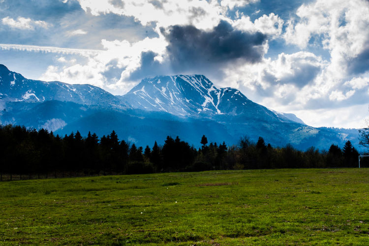 Field under mountain with snow Mountain Cloud - Sky Scenics - Nature Beauty In Nature Plant Sky Environment Landscape Tranquil Scene Mountain Range Tree Grass Tranquility Non-urban Scene Nature Land No People Day Field Snowcapped Mountain Outdoors Mountain Peak Snow 2018 In One Photograph