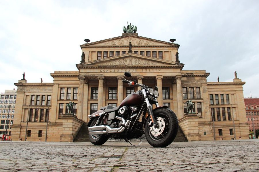 Berlin City E EyeEm Best Shots EyeEmNewHere Gandarmen Markt, Berlin Harley Davidson Fat Bob No People Architecture Built Structure Building Exterior Land Vehicle Mode Of Transport Transportation History Motorcycle City Outdoors