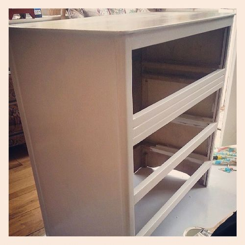 Halfway through the refurb! DIY Craft Upcycle Recycle Refurb Old Painting Restore Fun
