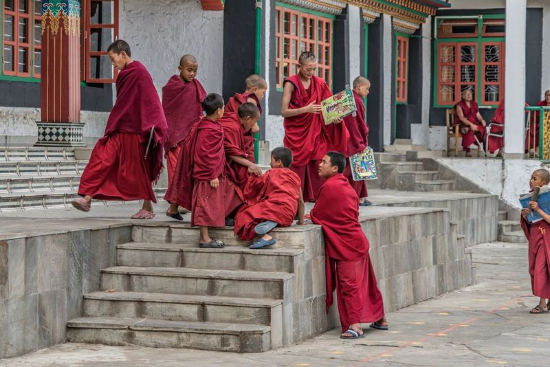Tawang Monks Building Exterior Staircase Religion Built Structure Architecture Steps And Staircases Adult Senior Adult Men Outdoors Day People Full Length Large Group Of People City Politics And Government Adults Only Only Men Buddhist Temple Buddhist Arunachal Pradesh Tibet India Connected By Travel