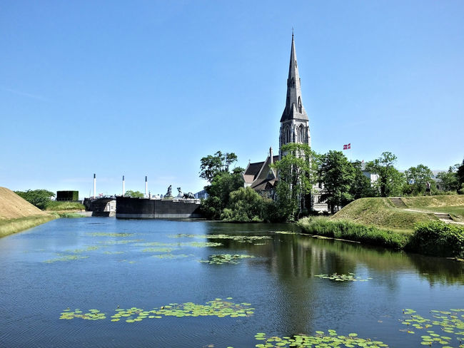 Architecture Built Structure Church Clear Sky Reflection Tranquility Water Reflection