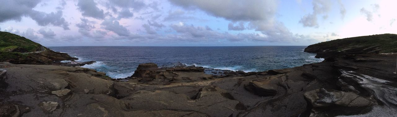 Hawaii Sunset Sea Sky Beach Land Water Cloud - Sky Beauty In Nature Tranquil Scene Rock Horizon Over Water Scenics - Nature Horizon Panoramic Nature Solid Tranquility No People Coastline Rock - Object