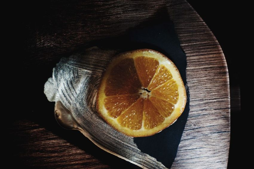 Experimental day Dark Photography EyeEm Gallery Eye4photography  EyeEm Best Shots Table Food And Drink Citrus Fruit Freshness SLICE Healthy Eating Wood - Material No People Black Background Food Fruit Close-up Blood Orange