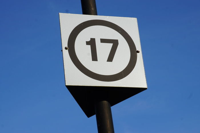 Number 17 on sign 17 Seventeen Number Numeral Sign
