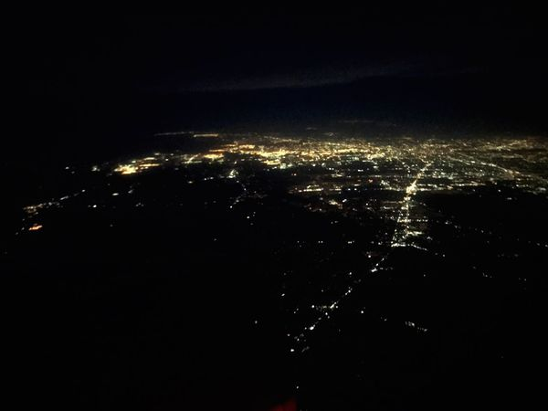 Fly over states Somewhere In The Sky Early Morning Illuminated City Lights City Travel