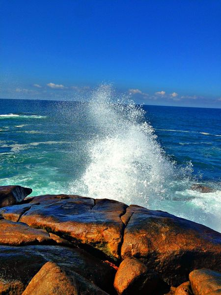 Beauty In Nature Blue Clear Sky Day Horizon Over Water IPhone Motion Nature No People Outdoors Power Power In Nature Scenics Sea Sky Sri Lanka Stone Unawatuna Water Waterdrops Wave The Great Outdoors - 2017 EyeEm Awards